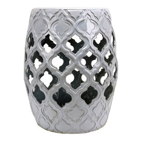 Picture of Ceramic White Quatrefoil Garden Stool Table- 18.5-in