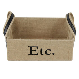 Picture of Low Rectangular Burlap Basket with Ear Handles - Small