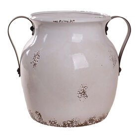 Picture of 9IN WHITE ANTIQUED POT