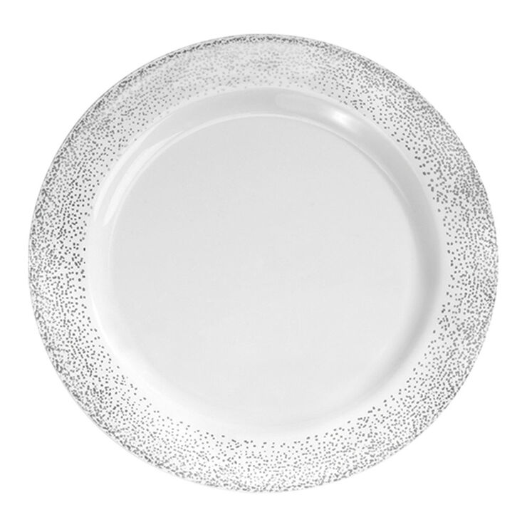 10.25-in Misty White and Silver Plates - set of 10
