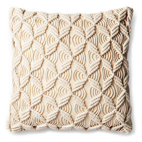 Picture of MACRAME PILLOW CREAM 17X17