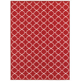 Picture of E141 Red and White Lattice Rug