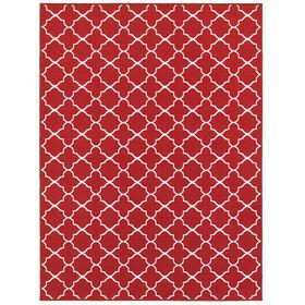 E141 Red and White Lattice Rug
