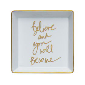 Picture of Square Porcelain Tray- Believe 5.5-in