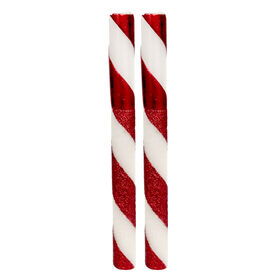 Picture of Candy Cane Taper Candles 10-in- Set of 2
