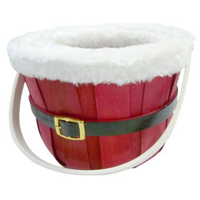Picture of Medium Red Santa Woodchip Basket with Fur