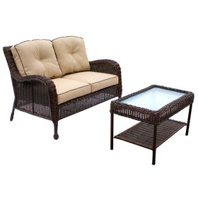 Brown Grand Isle Wicker Sette Set