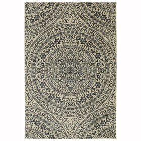 Picture of B257 Charcoal and Ivory Belle Fleurs Rug