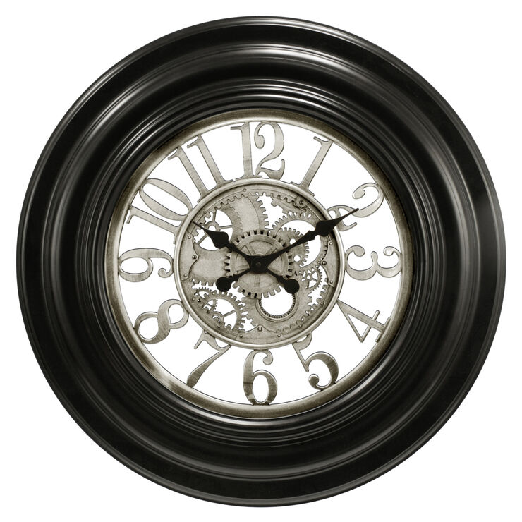 Black and Silver Gear Wall Clock