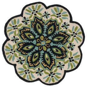Picture of Ivory and Black Azalea Round Rug- 3x3 ft
