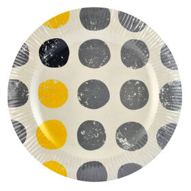 Yellow and Gray Melamine Salad Plate - Dots