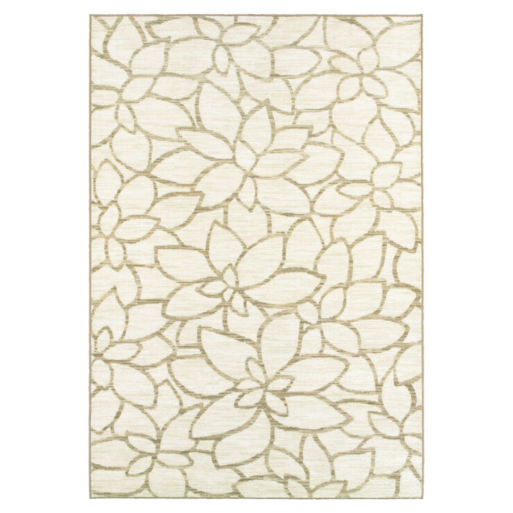 Grey Floral Silhouette Rug- 5x7 ft