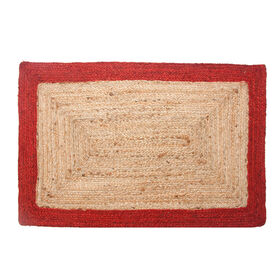 Picture of Jute Braided Rug with Red Border, 27 x 45
