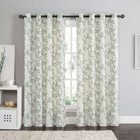 Picture of Rebecca Foam-back Silk Natural Curtains with Blue Flowers