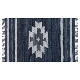 Picture of Shawman Tribal Leather Blue Rug 3x5-ft.