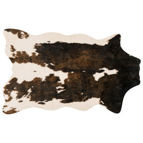 Picture of B23 Beige and Brown Faux Cowhide Rug