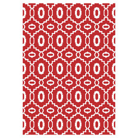 Red and Snow Millwall Tributary  Rug 3 X 5 ft
