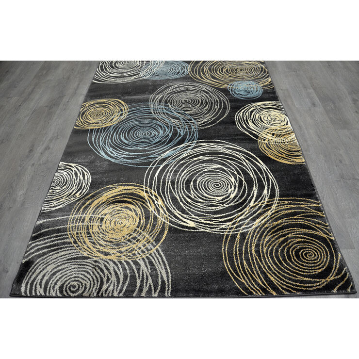 B149 Grey Circles Rug- 7x10 ft