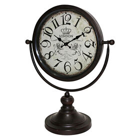 Picture of Black Metal Clock on Stand - 16 in.