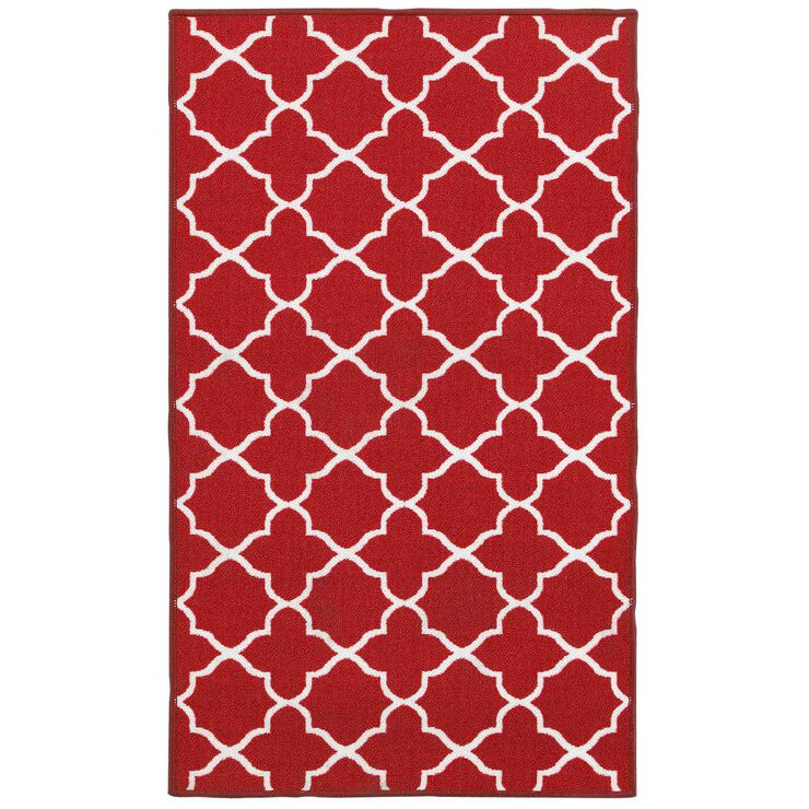 E141 Red and White Lattice Rug- 3x5 ft.