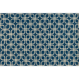 Picture of Indoor & Outdoor Blue and Ivory Geometric Beach Rug 5 X 8 ft