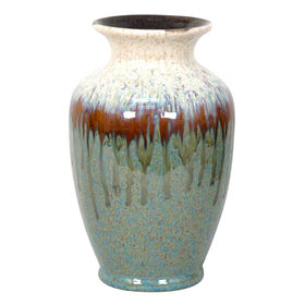 Picture of Large Brim Green Drip Glazed Vase - 7.4 X 11