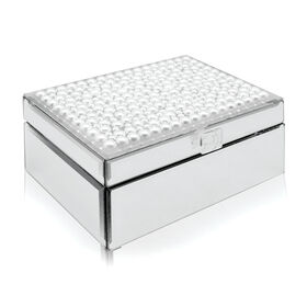 Picture of 1-Drawer Pearl Top Mirrored Jewelry Box, 6.8-in.