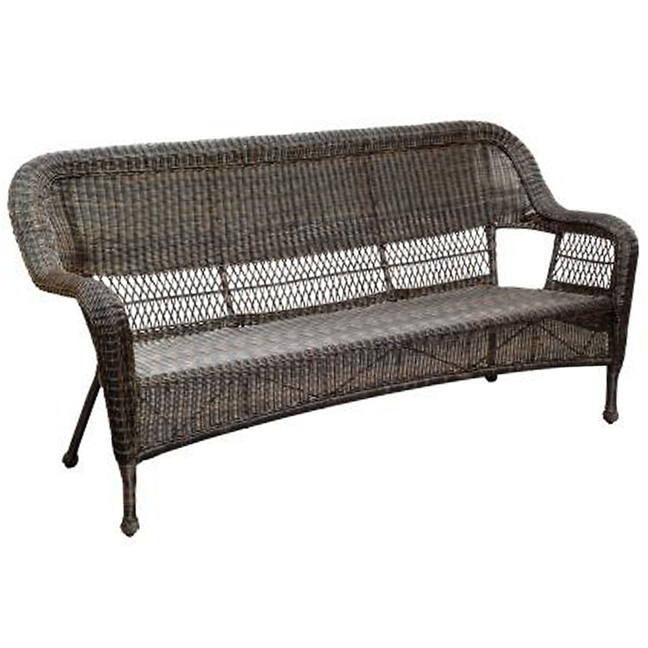 Dark brown wicker outdoor patio sofa at home Garden loveseat