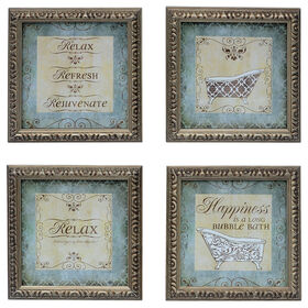 Picture of 16 X 16-in Blue and Brown Bath Accent Art- 4 Pack