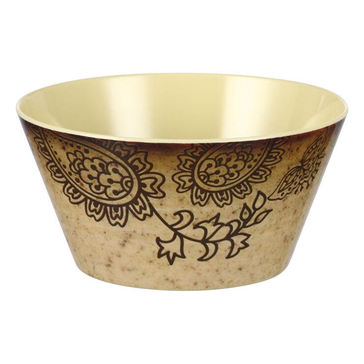 Folkloric Melamine Bowl, Tan