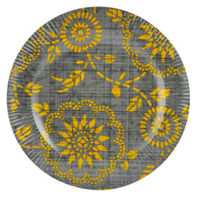 Picture of Yellow and Gray Melamine Salad Plate - Floral