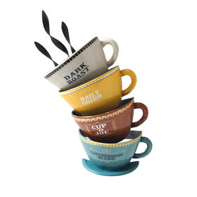 Picture of 8 X 14-in Coffee Cups Verbiage Wall Décor