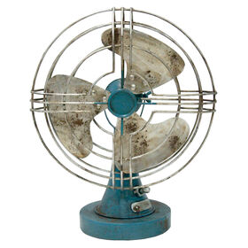 Picture of Turquoise Metal Fan - 12 X 15.25