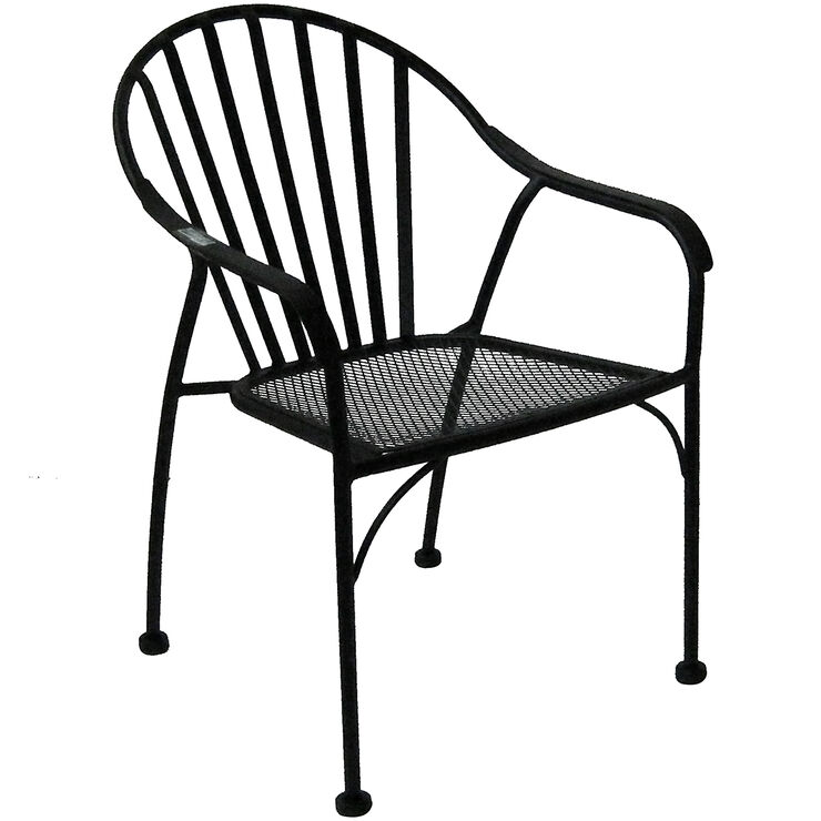 black wrought iron slat patio chair at home. Black Bedroom Furniture Sets. Home Design Ideas