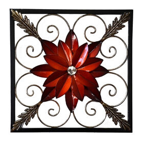 Picture of 14 X 14-in Red Flower Wall Décor