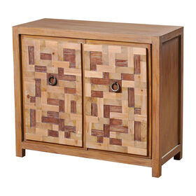 Picture of 2 Drawer Cubic Block Wood Panel Cabinet