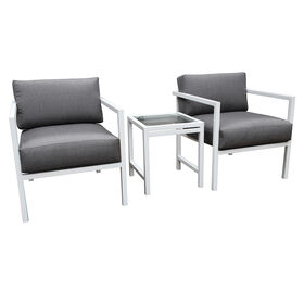 Picture of White Uptown 3 Piece Chair and Table Set with Grey Cushions