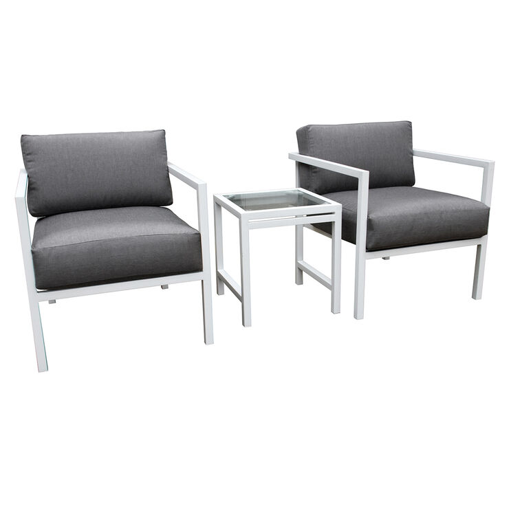 White Uptown 3 Piece Chair and Table Set with Grey Cushions
