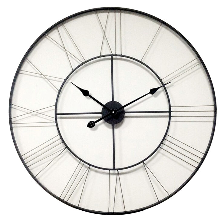 46-in Giant Silver Industrial Clock