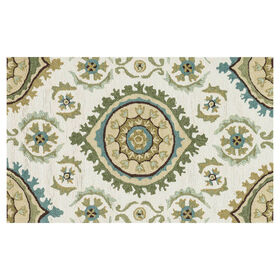 Picture of Layla Ivory & Aqua Ornament Accent Rug 27 X 45-in