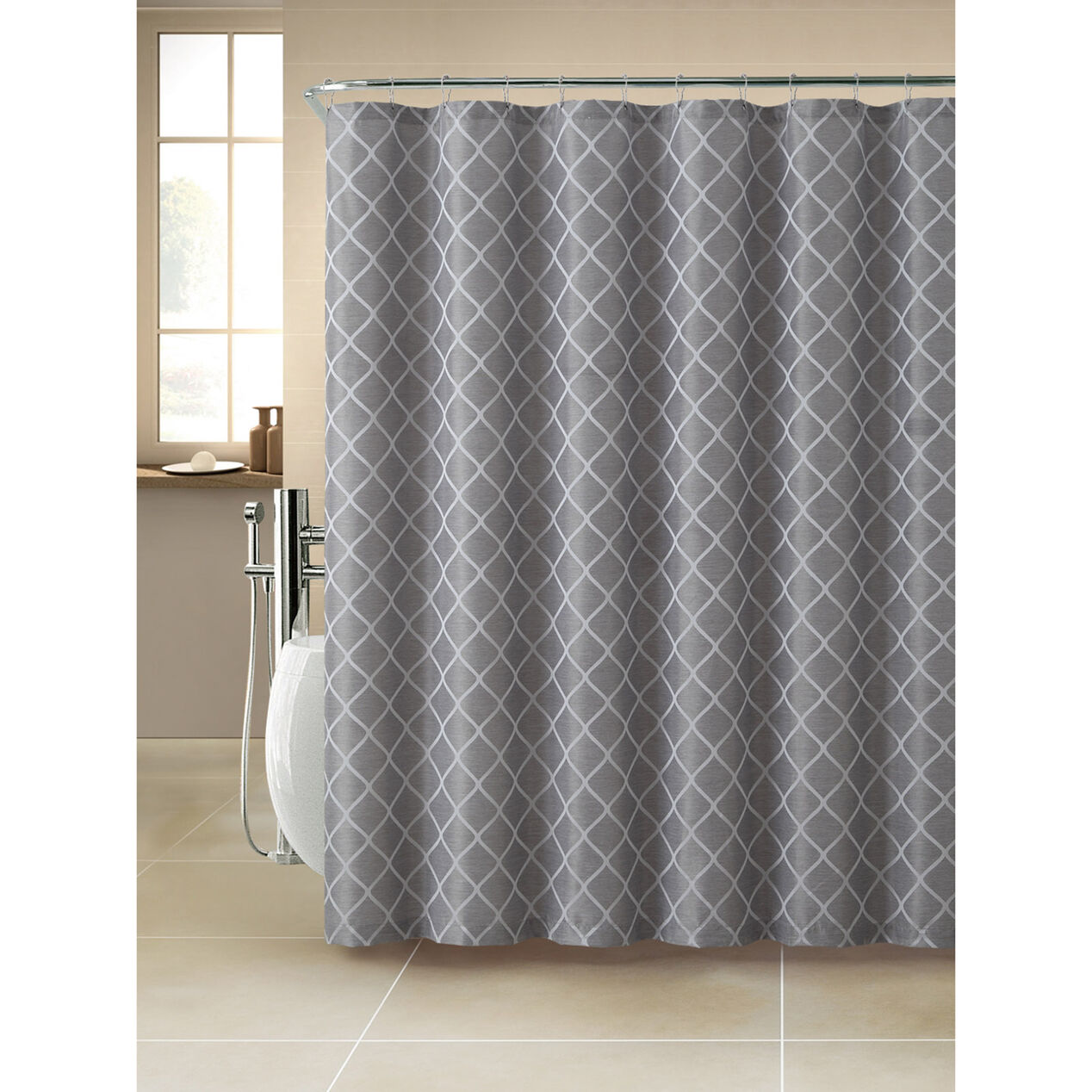 Darien Jacquard Shower CurtainGrey At Home - Beige and gray shower curtain