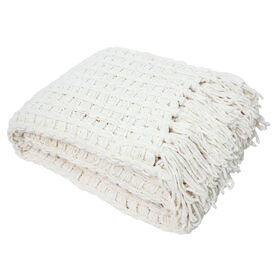 Picture of Cream Chenille Basketweave Throw