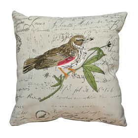 Picture of Brown Little Bird Pillow 18x18-in