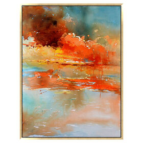 Picture of 36X48 Textured Framed Warm Clouds Wall Art