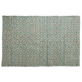 Picture of B308 Teal Quatrefoil Jute Rug