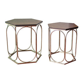 Picture of Nested Hexagon Glam Wood & Metal Table - Gold 18 H
