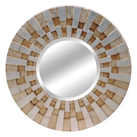 Picture of 36-in Round Gold and Silver Sun Ray Mirror