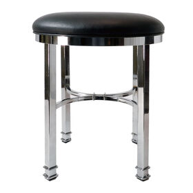 Picture of Silky Vanity Stool, Black and Chrome