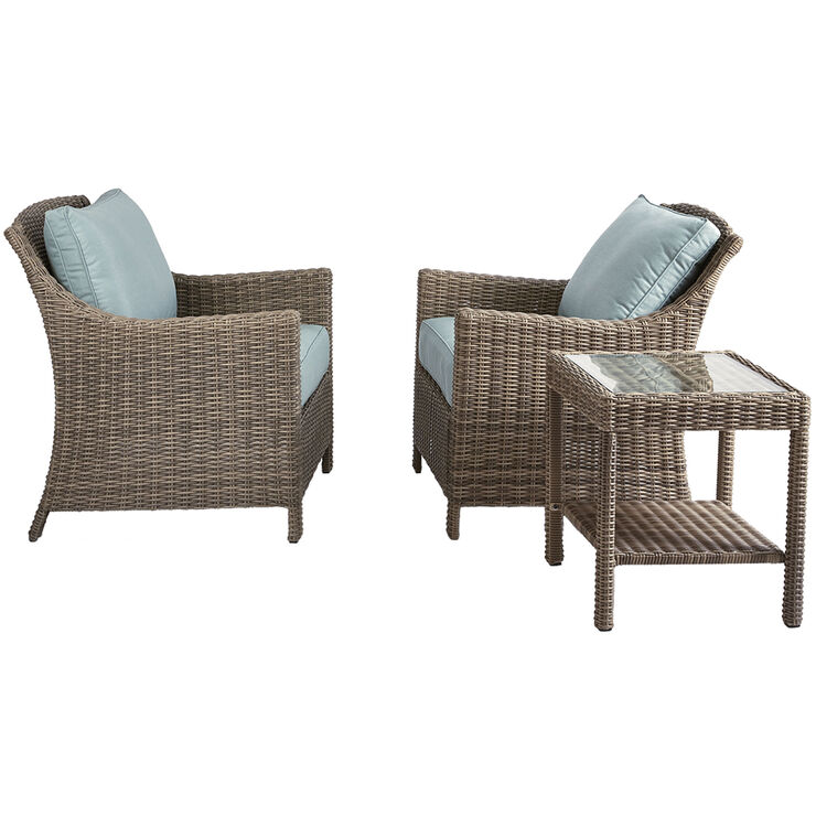 Laguna 3 Piece Wicker Chair and Table Set
