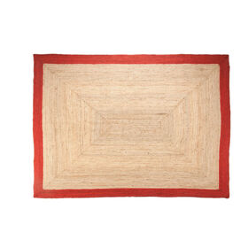 Picture of Jute Braided Rug with Red Border, 7 x 10